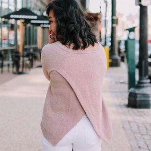 Madewell Dusty Rose Open Back Sweater SZ XL